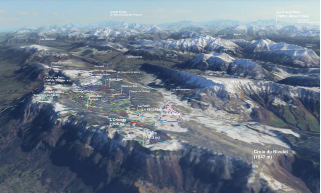 Carte 3 D des domaines skiables
