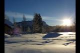 plateau de glaise - vue Margeriaz en hiver