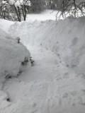 escaliers extérieur d'accès au gîte en hiver