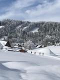 vue depuis parking du gîte avec pistes de ski de fond juste devant le chalet et pistes de ski alpin en fond de photo.
